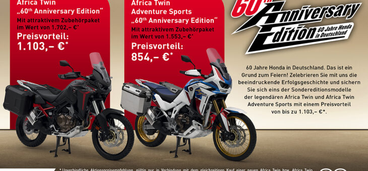 AFRICA TWIN UND AFRICA TWIN ADVENTURE SPORTS 60TH ANNIVERSARY EDITION